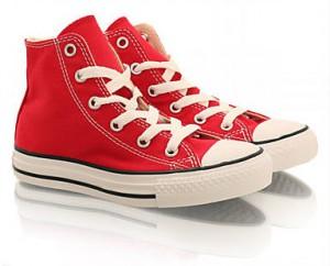 Röda Converse Allstar Canvas Hi barnskor