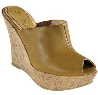 Sandalett med kilklack i kork och slip-in med öppen tå