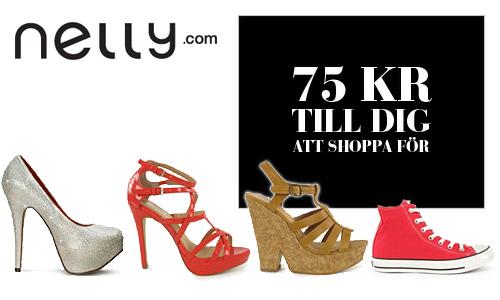 Handla skor och annat hos NELLY för minst 500 kr och få ett presentkort på 75 kr