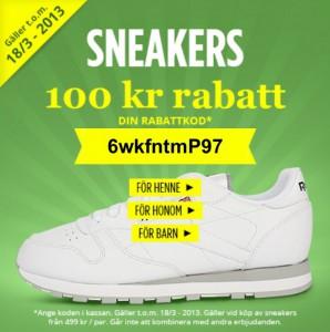 100 kr i rabatt på sneakers hos Heppo med rabattkod